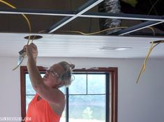 Installing WoodHaven Planks and Hiding Ugly Drop Ceiling Grid! Drop Ceiling Basement, Drop Ceiling Grid, Drop Ceiling Lighting, Drop Ceiling Tiles, Shiplap Ceiling, Plank Ceiling, Dropped Ceiling, Basement Renovations, Basement Ideas