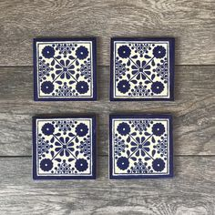 Blue and White Damasco Mexican Tile Coasters Wedding Coasters, Scrapbook, Tile Coasters, Custom Stamps, Tropical Decor, Handmade Decorations, Painting On Wood, Decorative Items, Home Crafts