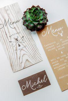 Le Grenier de Pauline - menu - hiver - neige - bois - montagne - marque place - typographie - mariage - wedding