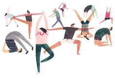 Yoga illustration for Felicity J Lord magazine. Illustrator from London charlottetrounce
