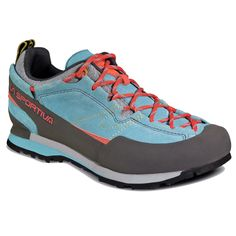 La Sportiva Boulder X Approach Shoe Women's Ice Blue 41.5. Vibram Idro-Grip approach compound is the stickiest approach compound on the market. High cushion laspeva layer is above the 2mm polypropylene insole to cushion the foot on long approaches. Mythos lacing system for a highly adaptable fit. Weight: 16.97 oz / 481 g.