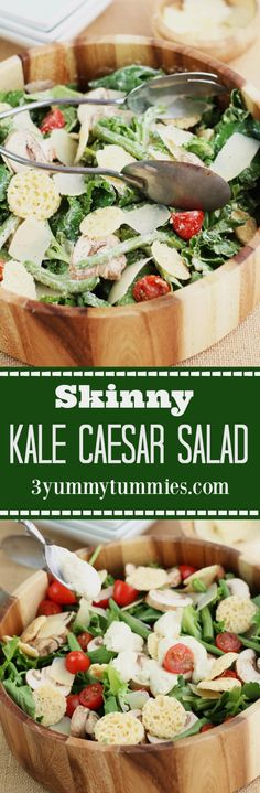 Skinny Kale Caesar Salad with delicious lightened up dressing with ...