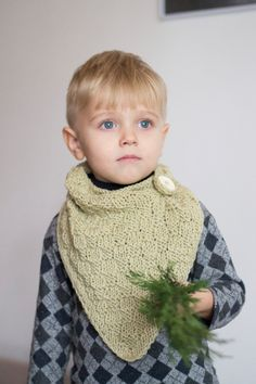 Knitted bandana bib // Sage green bandana scarf toddler cowl knitted bib green grey bandana hand knit bandana onward onward