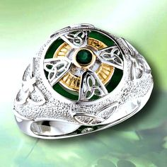 Man's Authentic Celtic Ring with Genuine EMERALD Celtic Cross WHOLE SIZES 8-14