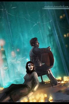 So, I've finally managed to play Bioshock Infinite with both Burial at Sea episodes and here's the fanart for it Hope you'll like the picture and . Burial At Sea Bioshock 2, Bioshock Infinite, Bioshock Artwork, Bioshock Series, Video Game Art, Video Games, Bioshock Elizabeth, Underwater City, Indie