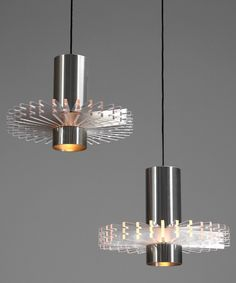 Claus Bolby; Aluminum and Acrylic 'Priest's Collar' Ceiling Lights for Cebo, 1960s.