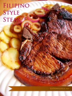 Filipino style steak has citrus and soy flavors -- http://filipinorecipes.healthandfitnessjournals.com