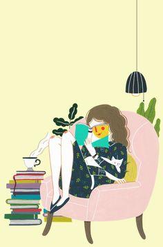 브로큰 휠 독자들이 추천함 on Behance Portrait Illustration, Book Illustration, Graphic Design Illustration, Girl Reading Book, Reading Art, Aline Rosa, Hijab Cartoon, Peace Art, American Illustration