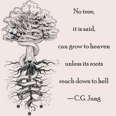 """""""No tree, it is said, can grow to heaven."""" Carl Jung """"No tree, it is said, can grow to heaven. Carl Gustav Jung Frases, Carl Jung Quotes, Carl Jung Shadow, Alchemy Tattoo, Occult Tattoo, C G Jung, Jordan Peterson, Psychology Quotes, New Quotes"""