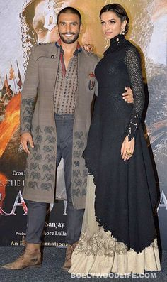 Ranveer Singh and Deepika Padukone SLAYED with their style at the Bajirao Mastani trailer launch - view HQ pics! Kurta Designs, Deepika Padukone, Indian Designer Outfits, Designer Dresses, Indian Dresses, Indian Outfits, Bollywood Fashion, Bollywood News, Party Kleidung