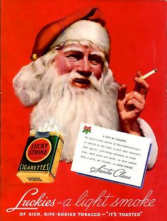 Lucky Strike Cigarettes 'Smoking Santa' Christmas ad, 1936