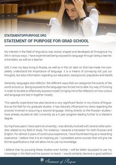 graduate program statement of purpose
