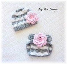 Newborn Baby Girl Crochet Flower Hat & Diaper Cover Set Pink Grey and White Stripes. $21.95, via Etsy.