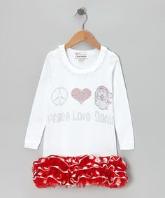 Take a look at this White & Red 'Peace Love Santa' Ruffle Dress - Infant, Toddler & Girls by The Princess and the Prince on #zulily today!