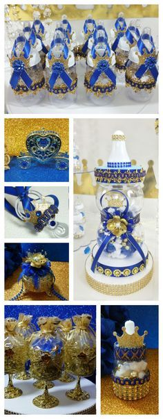 Royal Prince Baby Shower Favors and Centerpieces. Perfect for a Royal Blue and Gold Prince Baby Shower Theme and Decorations.