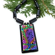 Peacock Feather Dichroic Glass Pendant Necklace, Black Onyx Gemstones Sterling Handmade Fashion Jewelry #LallaGatta via @LallaGatta