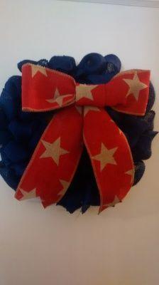 Blue Burlap Wreath