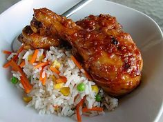 Garlic-Chile Chicken Legs. Absolutely delicious!-even better with http://www.epicurious.com/recipes/food/views/Bell-Pepper-and-Rice-Pilaf-4425 -aw