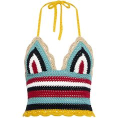 Red Valentino - Rainbow Wave Crochet Tank ($350) ❤ liked on Polyvore featuring tops, colorful tank tops, cropped tops, crop tank, white crop top and white crochet top