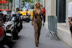 Lala Rudge wearing a Balmain suit outside Ralph Russo during Paris Fashion Week…