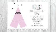 Teepee Birthday Party Invitation Printable Girls / Design / Invite / Etsy / Tribal / Modern / Minimal / Clean / Cute / Pink / Star / Arrow / Fun / Girl