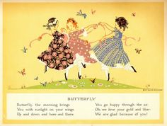 Happy All Day Through with verses by John G. Bowman and illustrations by Janet Laura Scott, copyright 1917