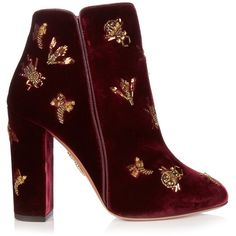 Aquazzura Fauna insect-embellished velvet ankle boots (€1.295) ❤ liked on Polyvore featuring shoes, boots, ankle booties, heels, ankle boots, heeled ankle boots, block heel bootie, short heel boots, block heel ankle boots and heeled ankle booties