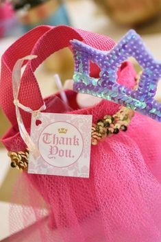Pretty favors at a Cinderella princess birthday party! See more party planning ideas at CatchMyParty.com!