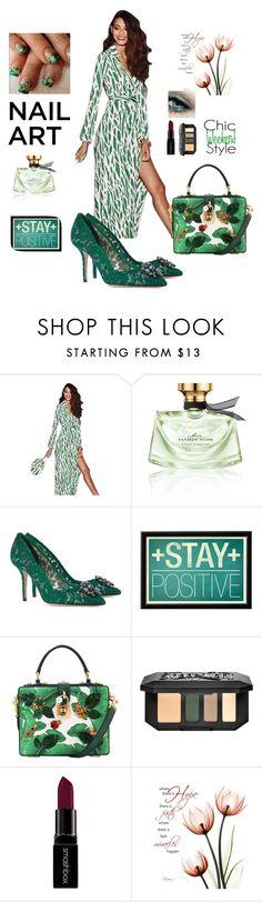 """Green With Envy: Wintery Nail Polish"" by belladonnasjoy ❤ liked on Polyvore featuring beauty, Diane Von Furstenberg, Bulgari, Dolce&Gabbana, Kat Von D and Smashbox"