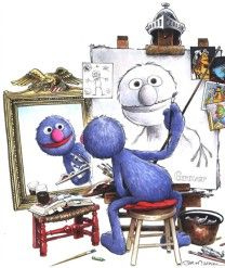 "Parody of Norman Rockwell's ""(Triple) Self-Portrait""    I LOVE GROVER!!!"