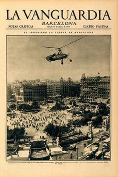 Hace 80 años: De la Cierva sobrevuela Barcelona a bordo de su autogiro.