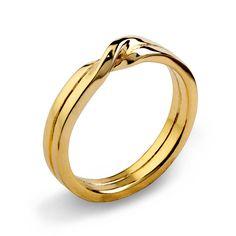 Liebe Knoten 14k gelb Gold Eheringe einzigartige Mens von arosha