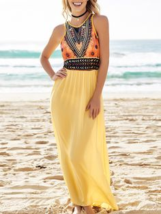 Color Block Print Sleeveless Maxi Dress YELLOW: Maxi Dresses | ZAFUL