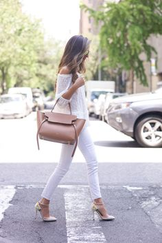 Team your white top with white jeans and let the bag and shoes do the talking. Via Arielle Nachami Jeans: Rag & Bone, Top: Rebecca Taylor, Shoes: Charlotte Olympia, Bag: Celine, Sunglasses: Westward Leaning