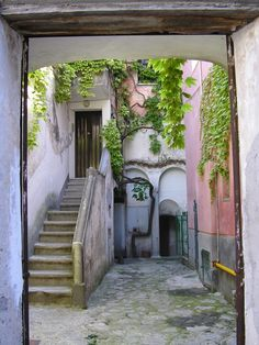 A small interior courtyard that my fantasy villa in Italy will have. The stairs go to my bedroom, where there will be a huge bed with pink, fluffy duvets, and an eiderdown featherbed. The small door goes downstairs to the wine cellar, where I will keep a small amount of very good wine to serve to friends when they visit.