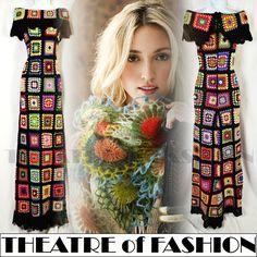VINTAGE CROCHET DRESS 70s MAXI PONCHO COAT 60s BOHO HIPPIE FESTIVAL GYPSY VAMP   eBay