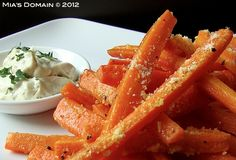 Baked cornmeal crusted carrot fries:toss carrots w olive oil to coat and s, cimbine 2 tbsp cornmeal and 2 tbsp fresh shredded parm; add cornmeal mixture to carrots and spread in single layer on foil lined baking sheet. Bake at 425 for 20 mins tossing once halfway through. Follow link to cilantro dipping sauce (diff carrot recipe)