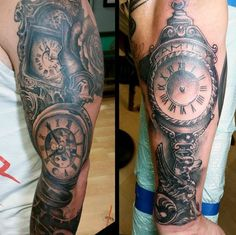 Masculine Men's Time Clock Tattoo