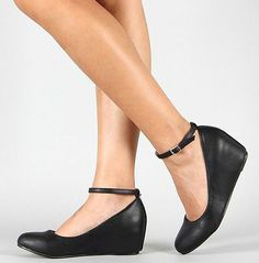 BLACK MARY JANE ANKLE STRAP LOW MED WEDGE HEEL BALLET FLATS WOMENS SHOES SZ 6-10 #InTouch #BalletFlats