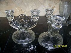 Depression Glass Iris And Herringbone Candle by treasurecoveally, $45.00
