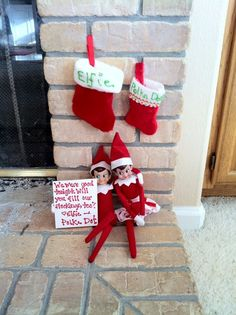 Our 5 year old had a sleepover with one of her best friends and her sneaky elf followed. Two elves putting their brains together results in some demands for filled stockings! - Elf on the Shelf #elfontheshelf