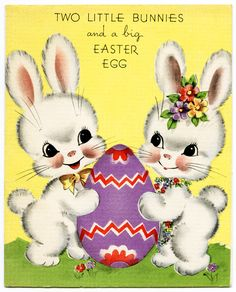 vintage easter greeting card, easter bunny clipart, vintage easter graphics, white bunnies clip art