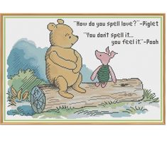 Winnie The Pooh - How Do You Spell Love? - Counted Cross Stitch Pattern by HornswoggleStore, $6.00 (Milne, Children, Kids, Book, Literature, Classic, Love)