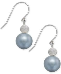 Gray Freshwater Pearl (9mm) and Bead Drop Earrings in Sterling Silver