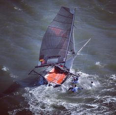 The answer to yesterdays Question - in the Pic yesterday we lost Stew during the save  you only see Tristan and me on the wing in the loops we gotta catch him - One man short in an 18ft Skiff is no good idea in these conditions. Team GER 33 Magic Marine at American Championships 18ft Skiffs 2013 - Practice Race #18ft #18footers #magicmarine #drivenbytheelements #sanfrancisco #sanfranciscobay #christophefavreauphotos #bridgetobridge #sanfrancisyachtclub #norbertpeterthoughtsunlimited…