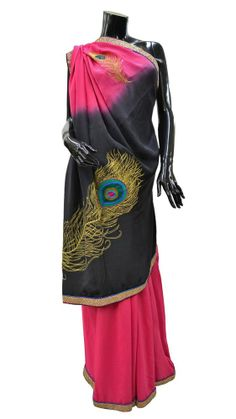 Pure designer crepe silk sari with peacock feather embroidery ethnic partywear Peacock Design, Silk Sarees, Ethnic, Feather, Sari, Pure Products, Embroidery, Blouse, Color