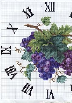 Grapes clock free cross stitch pattern part 1 of 2