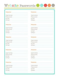 Free Printables to organize. Save you website passwords part of a large collection.