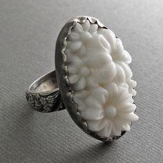 milk glass ring. It's pretty!