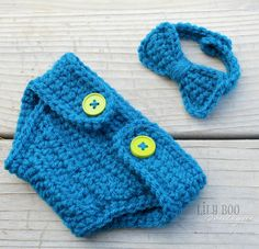 Boys newborn crochet bowtie and diaper cover set from my Etsy shop Lily Boo Boutique!